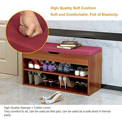 DlandHome Storage Bench Hall Entryway, M018A-R, 2-Tier Shoe Bench Racks PU Top, Red by DlandHome (Image #2)