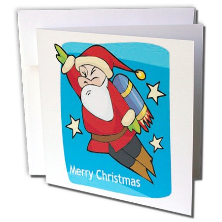 Single Pack Card (Merry Christmas Rocket Pack Santa Claus - Greeting Card, 6 x 6 inches, single (gc_160512_5))