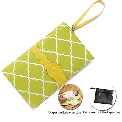 Diaper Changing Pad Diaper Change Mat with Head Cushion and Pockets,Infants Baby Portable Waterproof Changer Mat for Home,Travel & Outside (Green)