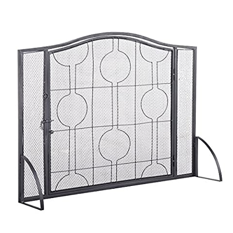 Costzon Single Panel Fireplace Screen Steel Frame Mesh Furniture Decor - Fireplace Frame
