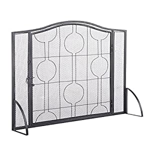 Costzon Single Panel Fireplace Screen Steel Frame Mesh Furniture Decor Home Kitchen