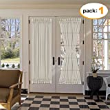 french door country curtains - H.Versailtex 72 Inch Length French Door Curtains -Light Filtering Curtain Natural Linen & Poly Blended Solid Rod Pocket Panel for Glass Door - 52