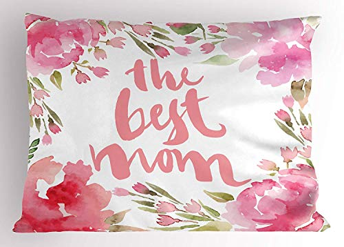 K0k2t0 Mothers Day Pillow Sham, Frame of Watercolor Cornflower Buds and Peonies The Best Mom Quote, Decorative Standard Queen Size Printed Pillowcase, 30 X 20 inches, Pale Pink Green ()
