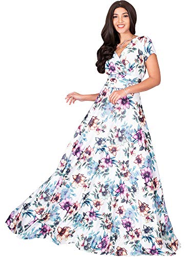 KOH KOH Womens Long Cap Short Sleeve Floral Print Full Floor Length Sexy V-Neck Spring Summer Sundress Cocktail Evening Party Sun Gown Gowns Maxi Dress Dresses, Pink & White L 12-14