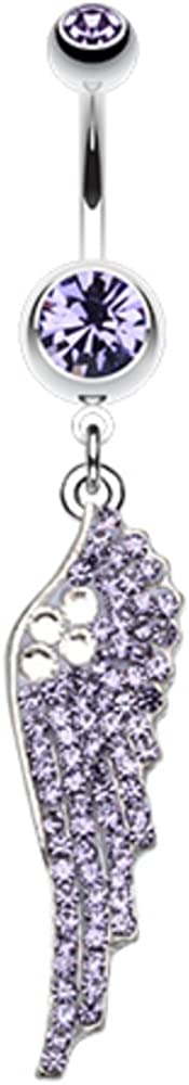 Jeweled Angel Wing Sparkle WildKlass Belly Button Ring