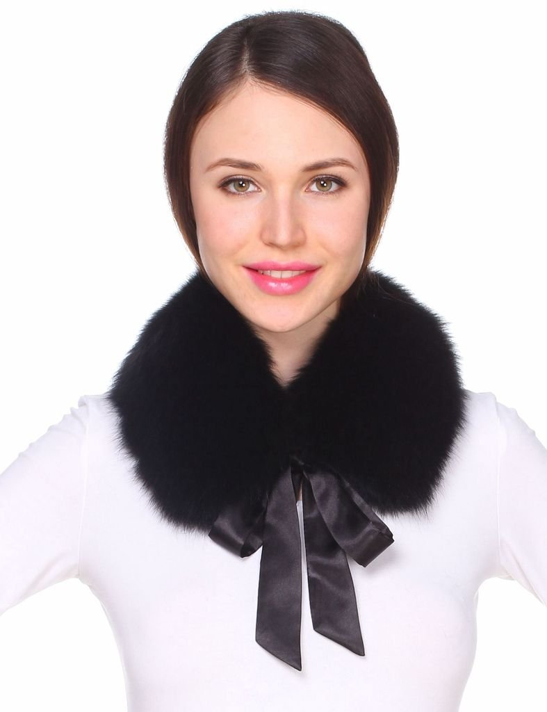 Ferand Ladies Stylish Genuine Fox Fur Collar Scarf with Satin Ribbon - Black