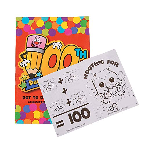 Fun Express - Count to 100 Dot to Dot Activity Book for 100th Day of School - Stationery - Activity Books - Activity Books - 100th Day of School - 24 Pieces
