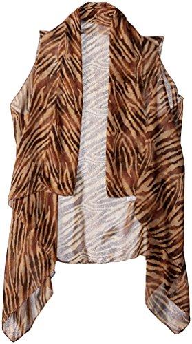 Accents by Lavello Sheer Designer Vest, Brown/Beige Animal Print
