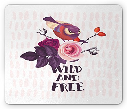 (Lunarable Wild and Free Mouse Pad, Small Sparrow Perching on a Bouquet of Wildflowers on Pastel Stripe Backdrop, Standard Size Rectangle Non-Slip Rubber Mousepad, Multicolor)