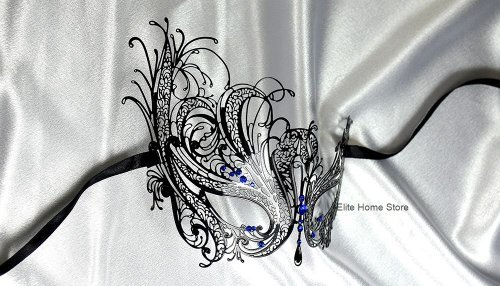 Blue Diamond Swan Black Laser Cut Venetian Masquerade Mask