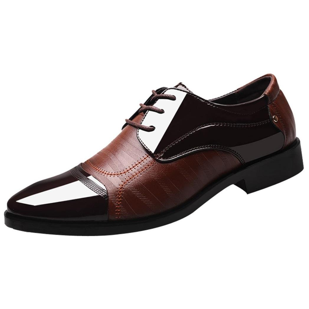 Clearance Sale Mens Classic Oxford Shoes Size 5.5-10.5,Leather Pointed Toe Lace up Dress Shoes for Business Wedding Party (Brown, US:10.5)