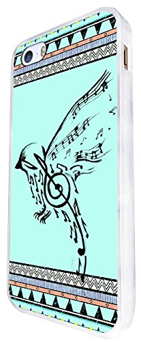 067 - Vintage Aztec Drawing Bird Music Notes Love And Peace Design iphone SE - 2016 Coque Fashion Trend Case Coque Protection Cover plastique et métal - Blanc