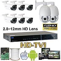 GW Security 8 Channel HD-AHD/TVI Camera HD 1080P CCTV DVR Kit : 6 x 1080P 2.8-12mm Varifocal Manual Zoom Dome Cameras 120FT IR Night Vision + 2 x 1080P HD-TVI PTZ Camera 20 times Zoom + 1 x 4TB HDD