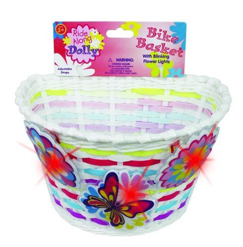 Ride Along Dolly Bike Basket with Lightups Kid's Bicycle Basket with Three Motion Activated Blinking Flowers