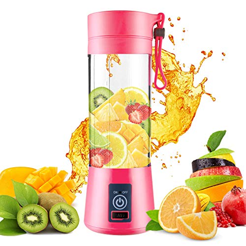 (DOTSOG Portable Blender,Household Juicer Cup 380ml Fruit Mixer Bottle-Six Blades in 3D,2000mAh USB Rechargeable Batteries,Detachable Cup,Suitable for Mixing Fruit Juice,Vegetable Juice,Milkshake,Ice Drink (pink))