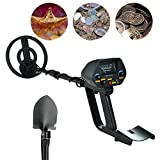 Metal Detector MD-4080 Waterproof Metal Detector  Upgraded Hobby Underground Treasure Finder(Stretch Length: 16-26Inches)With Shovel (Black)