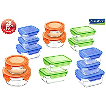 Snaplock Lid Tempered Glasslock Storage Containers 28pc Set Combo With  Assorted Color Of Lids   Microwave