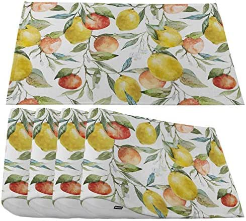 Moslion Watercolor Lemon Placemats,Summer Fruit Orange Red Lemon and Leaf Branch Place Mats for Dining Table/Kitchen Table,Waterproof Heat-Resistant Washable Outdoor Dinner Table Mats,Set of 4