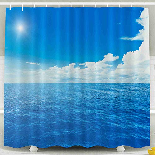- Shorping 78x72 Shower Curtain,Kids Shower Curtain, Blue Sea Sky Waterproof Decor Bathroom Set with Hooks