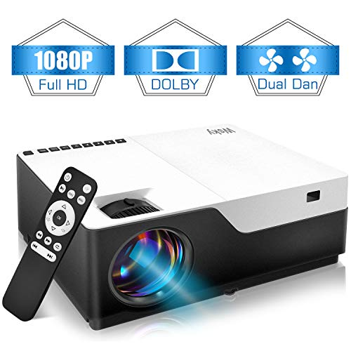 Wsky 1080P Projector, Native HD 4000Lux Home Theater- Support 1080P 1920x1080 Resolution with USB/HDMI/SD/AV Ports Ideal for Watching Movies Home Entertainment Gift Giving