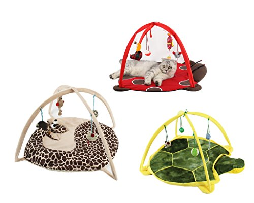 VERTAST Cat Dog Play Activity Mat Mit Mouse Doll Fun Playing Bed Pad, giraffe ()