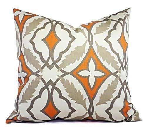 Handmade Modern Pillow Covers : Amazon.com: Cinnamon Orange and Beige Modern Pillow Cover - Orange and Cream Pillow - Custom ...