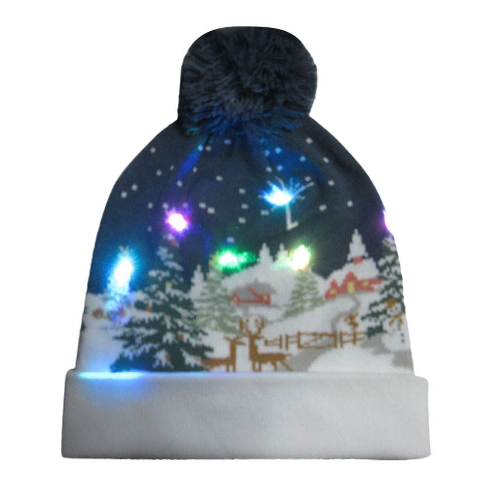 Vovotrade Light Up Hat with Colorful Lights - Unisex Knitted Light Hat with Santa Deer Printing for Party Sports Walking Jogging Bicycling (Cap Width 56-58cm, A4)