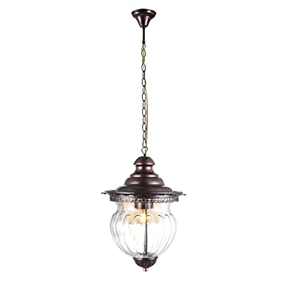 Maxax Outdoor Pendant Light,Vintage Hanging Lamp Fixture for Porch with Hammered Clear Glass and Bronze Finish, Adjustable Chain
