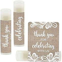 Andaz Press Lip Balm Birthday Party Favors, Thank You for Celebrating with Us, Burlap Lace, 12-Pack
