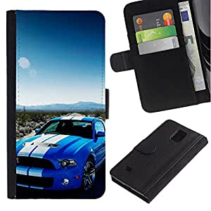 JackGot ( Shelby GT500 500 ) Samsung Galaxy Note 4 IV la tarjeta de Crédito Slots PU Funda de cuero Monedero caso cubierta de piel