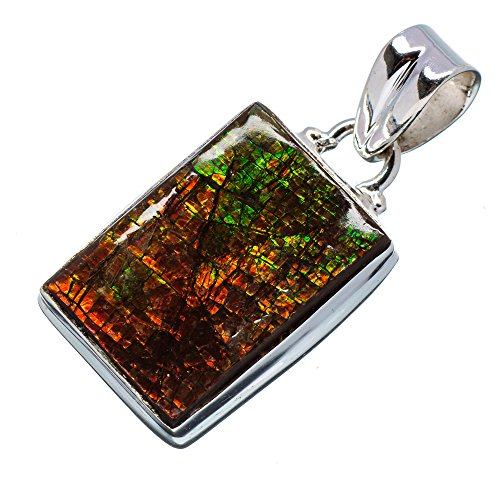 "Ammolite Pendant 1 1/2"" (925 Sterling Silver) - Handmade Jewelry PD630089"