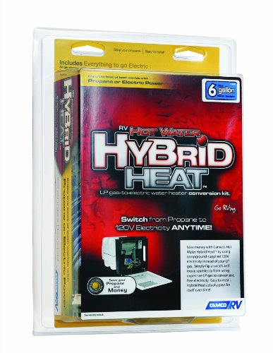 Camco Hot Water Hybrid Heat Kit - Easily Converts Any 6-Gallon RV LP Gas Water Heater to 120V Electricity to Conserve Propane (11673) - Water Propane Heater