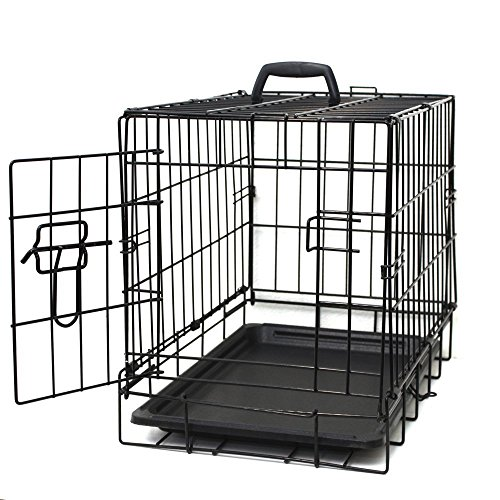 Paws & Pals 24' Medium Dog Crate, Double-Doors Folding Metal w/ Divider & Tray 24' x 16' x 20' 2016 Newly Designed Model