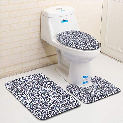 - Family bathroom set of 3, bathroom rug + contour pad + lid toilet seat Arabesque,Moroccan Floral Pattern with Victorian Rococo Baroque Oriental Design Decorative,Cream Indigo Red Blue flannel carpet