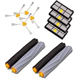 Buti-Life Vacuum Cleaner replacement parts with Tangle-Free Debris Extractor& 4 Hepa Filters& 4 Side Brush Replacement Kit for iRobot Roomba 800/900 series 870 880 980(2 Set)