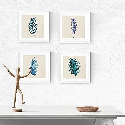 Nacnic Pack de láminas para enmarcar Hojas Azules. Posters Cuadrados con imágenes de Hojas. Decoración de hogar. Láminas para enmarcar. Papel 250 Gramos