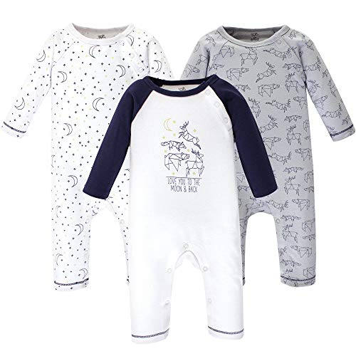 Touched by Nature  Unisex Baby Organic Cotton Coveralls and Union Suits, Constellation 3-Pack, 3-6 Months (6M),Baby Boys