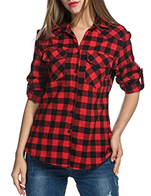 Instom Women's Roll up Sleeve Casual Loose Boyfriend Plaid Button Down Shirt