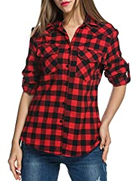 Women's Roll Up Long Sleeve Plaids Buttoned Casual Boyfriend Checkered Flannel Shirt