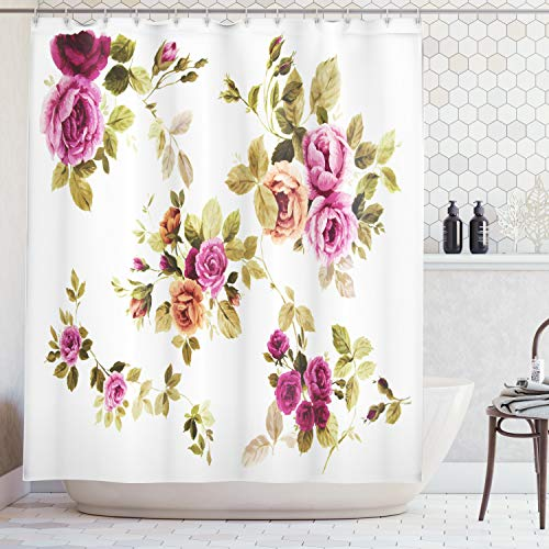Ambesonne Watercolor Flower Decor Collection, Branch of Rose Blossoming Classic Floral Design, Polyester Fabric Bathroom Shower Curtain Set with Hooks, Purple Green White Olive