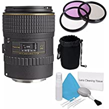 Tokina 100mm f/2.8 at-X M100 AF Pro D Macro Autofocus Lens for Canon EOS (International Model) +Deluxe Cleaning Kit + 55mm 3 Piece Filter Kit + Deluxe Lens Pouch