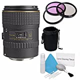 Tokina 100mm f/2.8 AT-X M100 AF Pro D Macro Autofocus Lens for Canon EOS (International Model) No Warranty+Deluxe Cleaning Kit + 55mm 3 Piece Filter Kit + Deluxe Lens Pouch Bundle 6