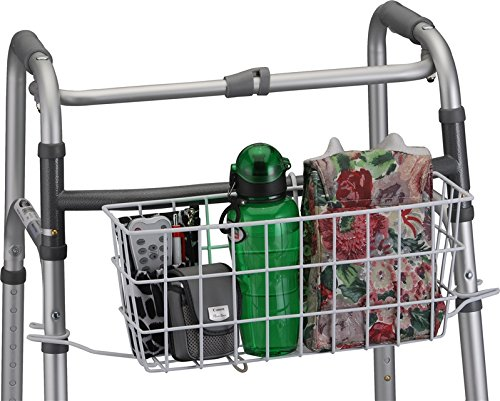 Basket for Folding Walkers - with Liner - Basket Color is Black - Fits Nova Medical Models 4080/4090 Series (Walker Carrying Basket)