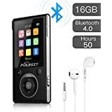 PUERSIT MP3 Player with Bluetooth and FM Radio,16GB Portable HIFI Lossless Sound MP3/MP4 Music Player with Pedometer/Voice Recorder/Earphone for Sports,50 Hours Playback (Max expand to 128GB)