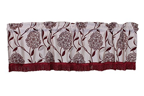 Violet Linen Luxurious Venetian Vintage Collection Window Valance, Burgundy, 60