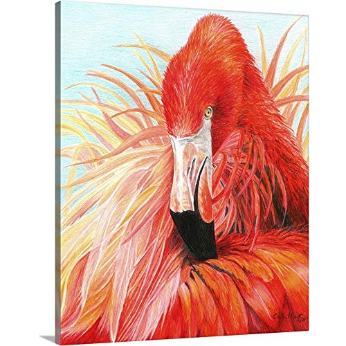 Red Flamingo Canvas Wall Art Print, 11 x14 x1.25