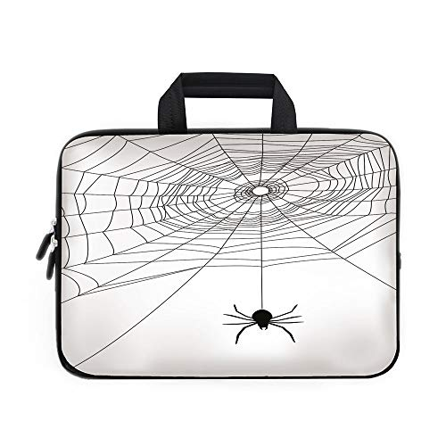 Spider Web Laptop Carrying Bag Sleeve,Neoprene Sleeve Case/Complex Doodle Net Sticky Gossamer Hunting Insect Catch Danger Prey Spooky Decorative/for Apple Macbook Air Samsung Google Acer HP DELL Lenov ()