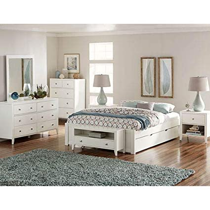 Amazoncom Ne Kids Pulse Queen Platform Bed With Trundle In White