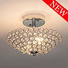 POPILION Modern Design Stainless Steel 2 Light Ceiling Flush Mount Crystal Chandelier Lighting,Crystal Ceiling Light Suitable for Bedroom, Living Room