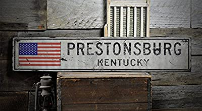 PRESTONSBURG, KENTUCKY - Rustic Hand-Made Vintage Wooden Sign - US Flag